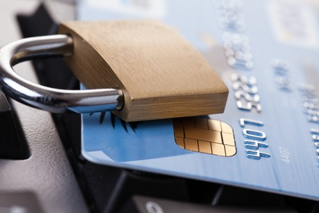 shot of credit card with padlock photo