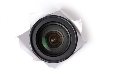 web cam: the camera lens in hole