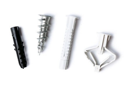 various wall plugs on white background photo