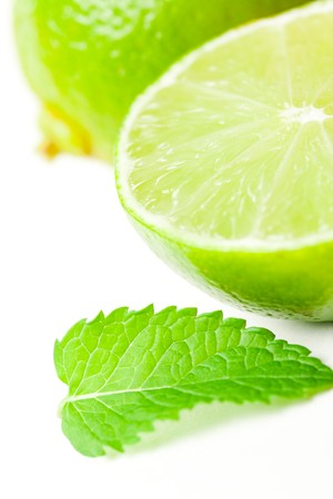 shot of lime with mint photo