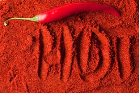 shot of spicy chili powder photo