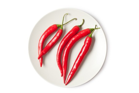 red chili peppers on white background Stock Photo - 7418233