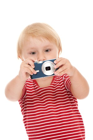 young child with camera pose on white background photo