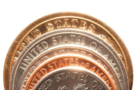 close up of american coins on white background photo
