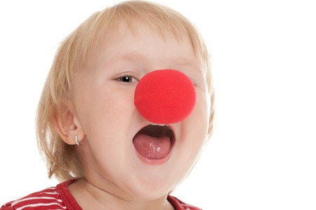studio shot of child with clown nose Stock Photo - 7565069