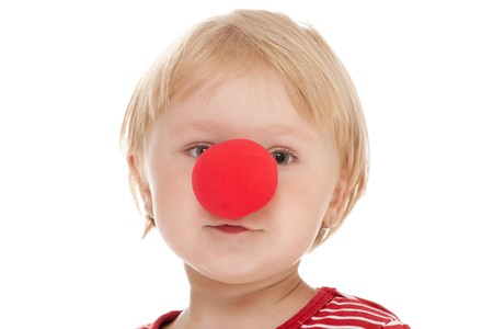 studio shot of child with clown nose Stock Photo - 7565070