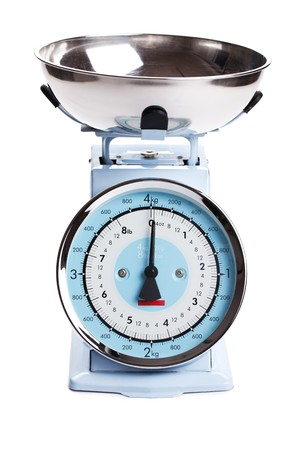 blue white kitchen: kitchen scale on white background