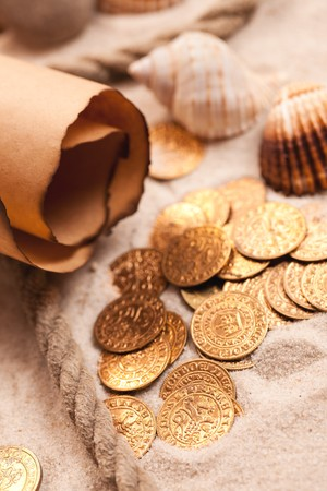 the treasure map and golden coins Stock Photo