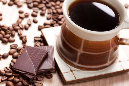 chocolate bars: the cup of coffee and chocolate Stock Photo