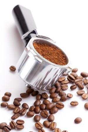 seed pots: photo shot of coffee handle Stock Photo
