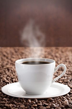 photo shot of coffee beans and aroma coffee photo