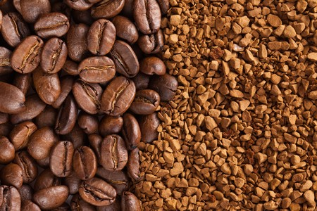 coffee grounds: photo shot of instant coffee powder and coffee beans