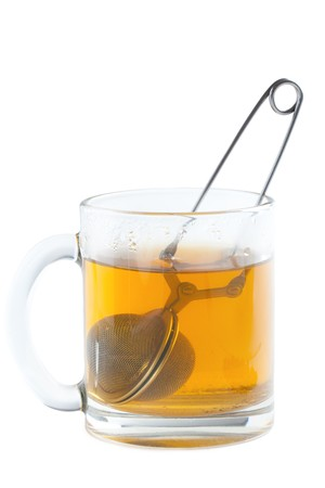the tea strainer in cup photo