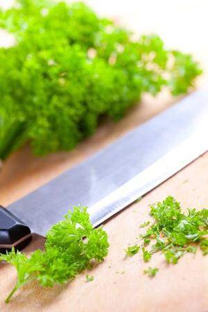 photo shot of chopped parsley photo