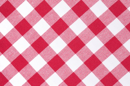 white blanket: photo shot of white and red checkered pattern Stock Photo