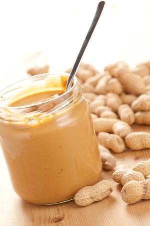 peanuts: photo shot of peanut butter