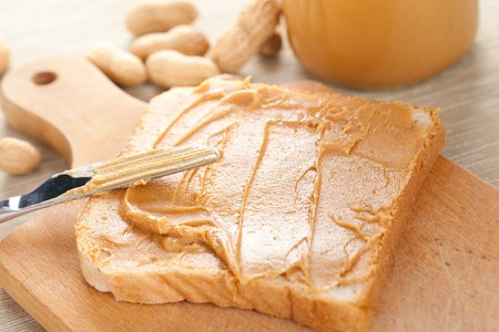 allergic ingredients: photo shot of peanut butter  sandwich Stock Photo