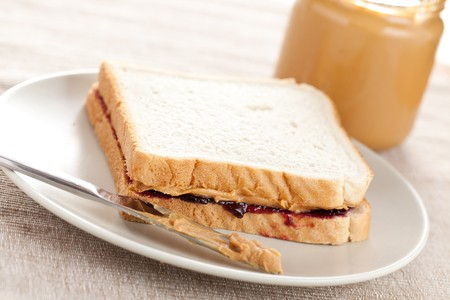photo shot of peanut butter and jelly sandwich photo