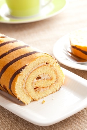 photo shot of sweet sponge roll dessert photo