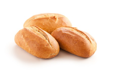 crusty french bread: fresh baguette on white background
