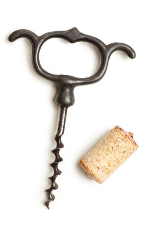the vintage corkscrew on white background photo