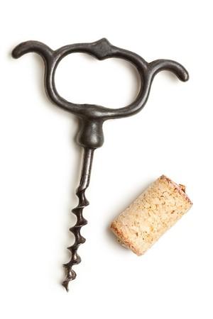 the vintage corkscrew on white background photo