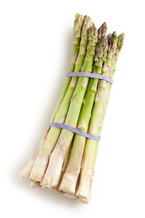 the fresh green asparagus on white background photo