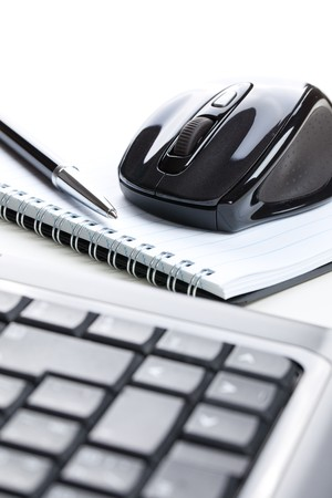 the computer mouse and notebook with pen Stock Photo - 8013537