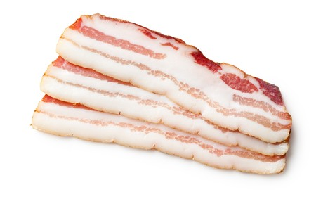 pork loin: smoked bacon isolated on white background Stock Photo