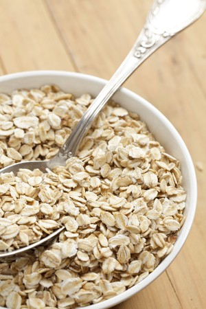 oatmeal on wooden table photo