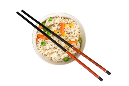 asian noodle: asian noodle soup on white background