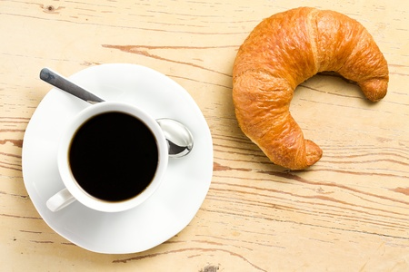 the fresh croissant with coffee photo