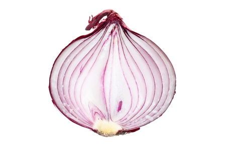 aftertaste: the sliced red onion on white background