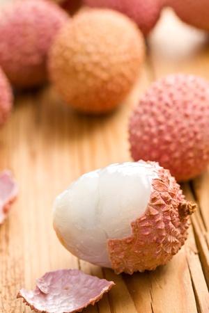 leechee: tasty litchi fruit on kitchen table Stock Photo