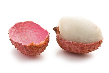 tasty litchi fruit on white background photo