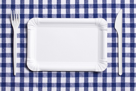 ware: the plastic cutlery on checkered tablecloth