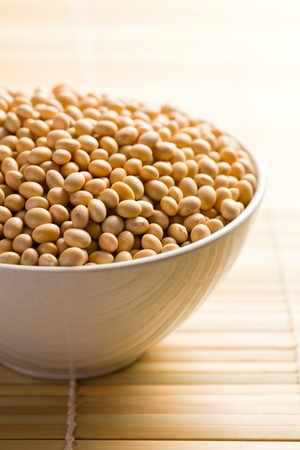 soya beans: the soya beans in ceramic bowl