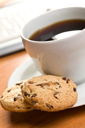 breakfast in office : cookies and coffee photo