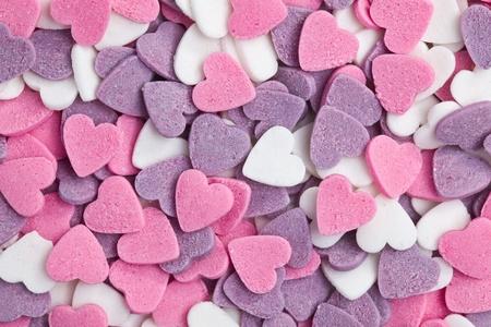 snoepjes: Foto shot van kleurrijke harten achtergrond Stockfoto