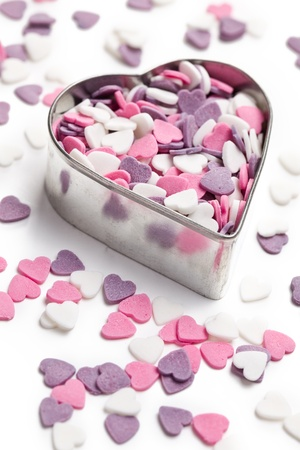 the sweet colorful hearts in heart cutter Stock Photo - 8670314