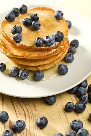 the tasty pancakes with blueberries photo