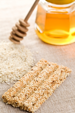 sesame seed: the sesame bar with honey  Stock Photo