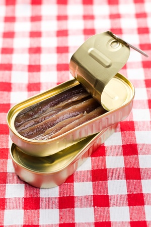 the anchovies fillets in tin can photo