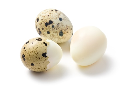 huevos de codorniz: los huevos de codorniz hervida sobre fondo blanco Foto de archivo