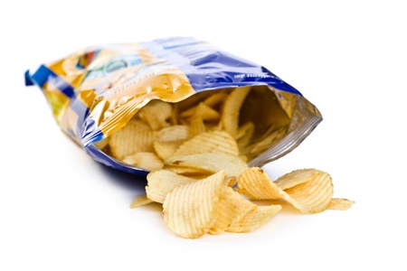 potato chips: potato chips in bag on white background Stock Photo