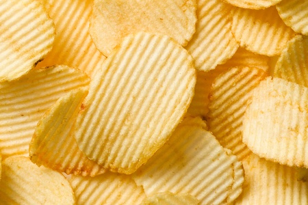 crunchy: shot of potato chips