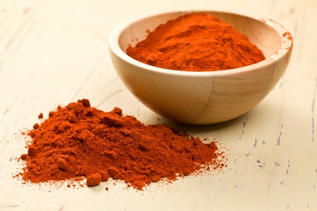spicy chilli: the paprika powder in wooden bowl