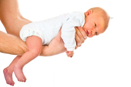 the newborn baby in dad's hands Stock Photo - 9086883