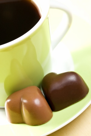 valentine day cup of coffee: the chocolate hearts and coffee cup