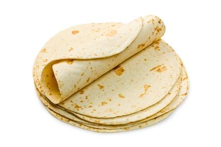 corn flour:  flour tortillas on white background Stock Photo